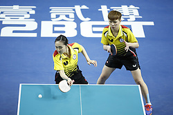 February 23, 2018 - London, England, United Kingdom - Hyo Sim CHA and Nam Hae KIM of Hong Kong China during ITTF Team World Cup match between Hyo Sim CHA and Nam Hae KIM of Hong Kong China and Hsien-Tsu CHENG Shu-Yu CHEN of DPR Korea, Quarter Finals Women doubles match on February 23, 2018 in Copper Box Arena, Olympic Park, London. (Credit Image: © Dominika Zarzycka/NurPhoto via ZUMA Press)