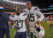 Los Angeles Chargers running back Derrick Gore (37) and wide receiver Andre Patton (15) talk after an NFL football game, Thursday, Aug. 29, 2019, in Santa Clara, Calif. (Dylan Stewart/Image of Sport)