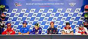 World Moto GP Championship 2018. Round17 @ Phillip Island. Australia. Michelin Australian Motorcycle Grand Prix. Thursday. 25.10.2018. Press Conference. (L-R) - Alvaro Bautista, Ducati,  Andrea IANNONE,  SUZUKI ECSTAR team, #46 Valentino ROSSI (Ita) Movistar Yamaha MotoGP speaks as Marc MARQUEZ (Esp) loos for devine intervention from above, Carl Crutchlow, # 43,  Jack MILLER,  AUS, Alma Pramac Racing, MotoGP, <br /> .- fee liable image, copyright © ATP / Damir IVKA