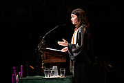 Lily Bradley delivers a Student Address at spring undegraduate commencement. Photo by Ben Siegel