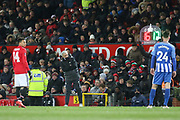 Manchester United Manager Jose Mourinho looks at the substitution board during the FA Cup match between Manchester United and Brighton and Hove Albion at Old Trafford, Manchester, England on 17 March 2018. Picture by Phil Duncan.
