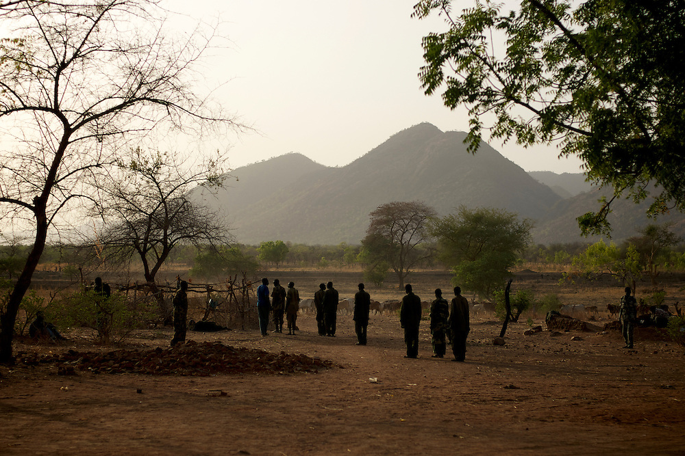 A group Sudan People's Liberation Movement (SPLA-N) new recruits line for training in a improvised military base near the frontline in the Nuba Mountains in South Kordofan.