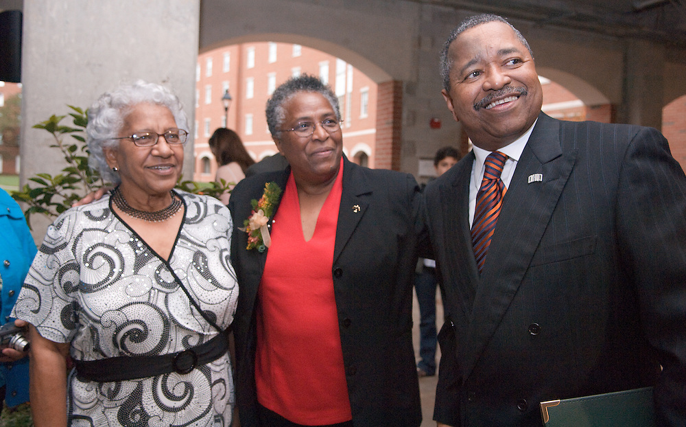 18467Adams Hall Dedication..Ada's  sister in-law Dessie Workman, Ms. Ada Woodson-Adams, President Rodrick McDavis