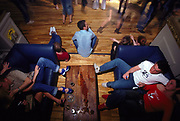 Relaxing on sofas in the chill-out area at Sugar Shack Middlesborough April 2002