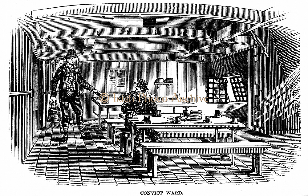 Prison Hulks: Ward on board the convict hulk 'Warrior' at Woolwich. This hulk held 600  and was an intermediate confinement between an ordinary gaol or transportation.  Prisoners were used as labourers in the dockyards From 'The Illustrated London News', 1848.Wood engraving