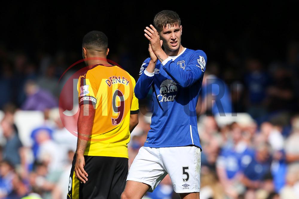 Everton's John Stones applauds the fans - Mandatory byline: Matt McNulty/JMP - 07966386802 - 08/08/2015 - FOOTBALL - Goodison Park -Liverpool,England - Everton v Watford - Barclays Premier League