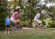 Middletown, New York - A girl and a boy jump rope at the Middletown YMCA summer camp on August 20, 2010.