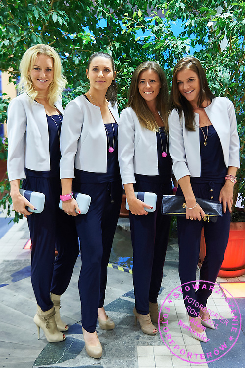 (L-R) Urszula Radwanska and Klaudia Jans-Ignacik and Alicja Rosolska and Agnieszka Radwanska all from Poland during official dinner on two days before the Fed Cup / World Group Play Off tennis match between Poland and Switzerland at The Zielona Gora Palm House on April 16, 2015 in Zielona Gora, Poland<br /> Poland, Zielona Gora, April 16, 2015<br /> <br /> Picture also available in RAW (NEF) or TIFF format on special request.<br /> <br /> For editorial use only. Any commercial or promotional use requires permission.<br /> <br /> Adam Nurkiewicz declares that he has no rights to the image of people at the photographs of his authorship.<br /> <br /> Mandatory credit:<br /> Photo by &copy; Adam Nurkiewicz / Mediasport
