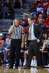 22 November 2017:  Tyler Kumpf stands near Ryan Hellenthal during a College mens basketball game between the Quincy Hawks and Illinois State Redbirds in  Redbird Arena, Normal IL