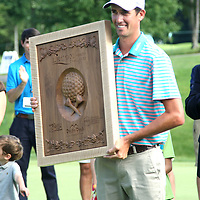 Chesson Hadley holds the plack for winning the LeCom Health Challenge Web.com PGA Tour at Peek n Peak July 9, 2017 photo by Mark L. Anderson