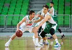 Roko Badzim of Petrol Olimpija during basketball match between KK Petrol Olimpija and KK Krka in Round #6 of Liga Nova KBM za prvaka 2018/19, on April 5, 2019, in Arena Stozice, Ljubljana, Slovenia. Photo by Vid Ponikvar / Sportida