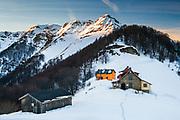 Winter trail to Mazalat hut in Balkan Mountains