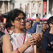 London, Uk. 15th Oct, 2017. Hundreds gather in Trafalgar Square to celebrate the Diwali Festival, the Hindu festival of lights celebrated every autumn, on October 15, 2017 in London. The celebration features a vibrant mix of music, dance, costumes, food and drink.