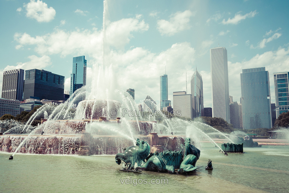 Picture of Buckingham Fountain and Chicago Skyline. Clarence F. Buckingham Memorial Fountain is located in Grant Park and is one of Chicago's most popular and well known attractions. Photo was taken in 2012 and is high resolution with a toned treatment.
