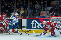 REGINA, SK - MAY 19: Evan Fitzpatrick #31 of Acadie-Bathurst Titan defends the net for a shot by Tyler Steenbergen #17 of Swift Current Broncos at the Brandt Centre on May 19, 2018 in Regina, Canada. (Photo by Marissa Baecker/CHL Images)