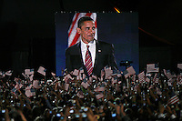 Barack Obama, speaks to the crowd for the first time after being named as the President Elect for the United States of America at a rally at Chicago's Grant Park, Tuesday Nov. 4, 2008 Chicago IL.
