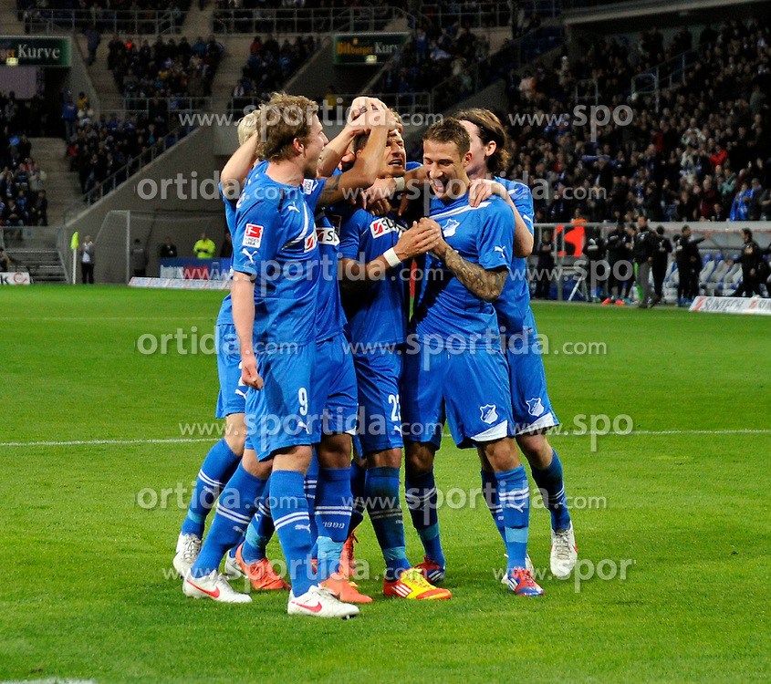11.04.2012, Wirsol Rhein-Neckar-Arena, Sinsheim, GER, 1. FBL, TSG 1899 Hoffenheim vs Hamburger SV, 30. Spieltag, im Bild Torjubel, Jubel, Freude, Emotion nach Elmetertor Strafstovü durch Sejad SALIHOVIC TSG 1899 Hoffenheim mit Sven SCHIPPLOCK TSG 1899 Hoffenheim Fabian JOHNSON TSG 1899 Hoffenheim Sebastian RUDY TSG 1899 Hoffenheim // during the German Bundesliga Match, 30th Round between TSG 1899 Hoffenheim and Hamburger SV at the Wirsol Rhein Neckar Arena, Sinsheim, Germany on 2012/04/11. EXPA Pictures © 2012, PhotoCredit: EXPA/ Eibner/ Weber..***** ATTENTION - OUT OF GER *****