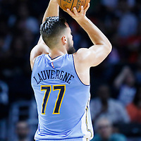 02 October 2015: Denver Nuggets forward Joffrey Lauvergne (77) takes a jump shot  during the Los Angeles Clippers 103-96 victory over the Denver Nuggets, in a preseason game, at the Staples Center, Los Angeles, California, USA.