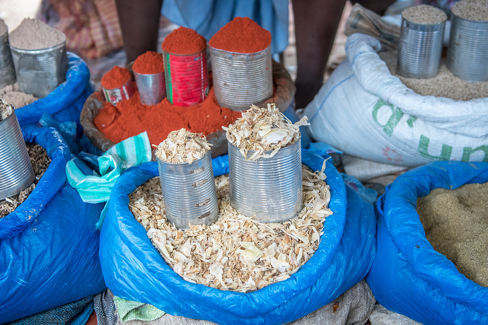 Spices piled up Ganta, Liberia