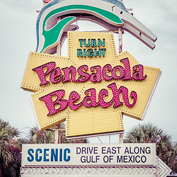 Famous Pensacola Beach sign photo. The iconic sign is along the Gulf Breeze Parkway in Gulf Breeze Florida.  Photo is vertical and high resolution. Copyright ⓒ 2018 Paul Velgos with All Rights Reserved.