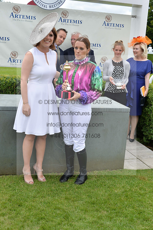 HRH PRINCESS EUGENIE OF YORK and CAMILLA HENDERSON winner of the Magnolia Cup at the Qatar Goodwood Festival - Ladies Day held at Goodwood Racecourse, West Sussex on 30th July 2015.