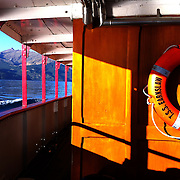 The mountain range view from the TSS Earnslaw, the 100 year old vintage coal fired passenger steam ship which sails on Lake Wakatipu, Queenstown, New Zealand. The popular tourist attraction is celebrating it's centenary year with celebrations planned for October 2012.  Queenstown, Central Otago, New Zealand. 29th February 2012. Photo Tim Clayton