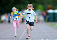 20 Aug 2016:  Keeva Flynn, from Sligo, crosses the line in the Girls U10 100m heats.   2016 Community Games National Festival.  Athlone Institute of Technology, Athlone, Co. Westmeath. Picture: Caroline Quinn