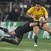 Digby Ioane is tackled by Kieran Read during the New Zealand V Australia Tri-Nations, Bledisloe Cup match at Eden Park, Auckland. New Zealand. 6th August 2011. Photo Tim Clayton