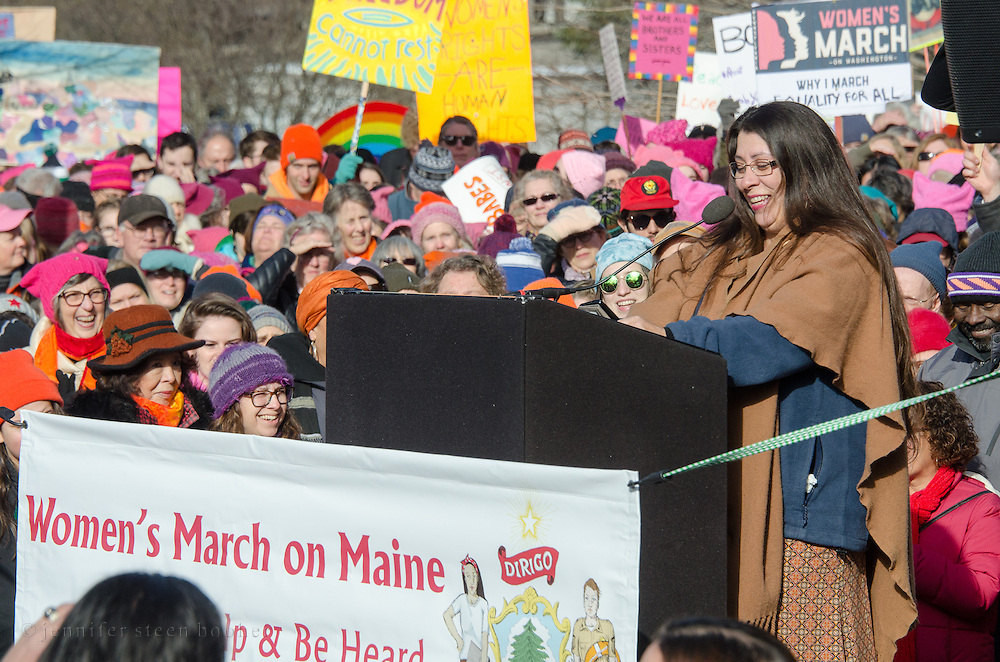 Augusta, Maine, USA. 21st Jan, 2017.  June Sapiel, water protector and member of the Penobscot Nation, addresses the Women's March on Maine rally in front of the Maine State Capitol. The March on Maine is a sister rally to the Women's March on Washington. Credit: Jennifer Booher/Alamy Live News
