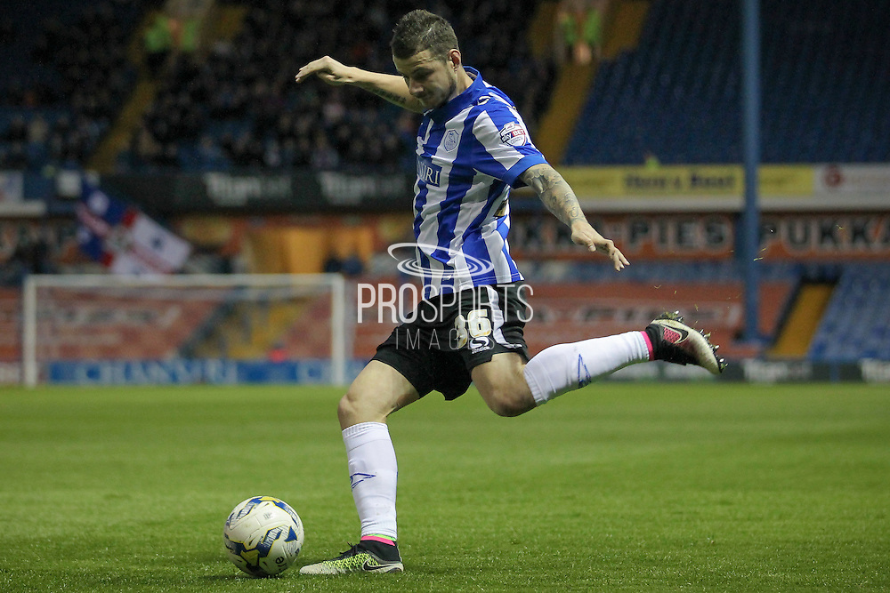 Daniel Pudil (Sheffield Wednesday) crosses the ball into the Blackburn Rovers box during the Sky Bet Championship match between Sheffield Wednesday and Blackburn Rovers at Hillsborough, Sheffield, England on 5 April 2016. Photo by Mark P Doherty.