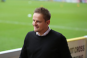 AFC Wimbledon manager Neal Ardley smiling during the EFL Sky Bet League 1 match between AFC Wimbledon and Walsall at the Cherry Red Records Stadium, Kingston, England on 25 February 2017. Photo by Matthew Redman.