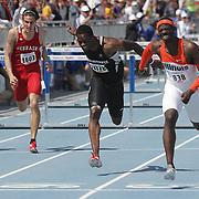 JOSEPH, VANIER - DRAKE RELAYS, 2013 - Illinois' Vanier Joseph, right, won the University 110 meter hurdles in 13.59.  Durell Busby, Wisconsin-Milwaukee, (center) finished third.  photo by David Peterson