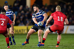 Will Stuart of Bath Rugby looks to pass the ball - Mandatory byline: Patrick Khachfe/JMP - 07966 386802 - 29/11/2019 - RUGBY UNION - The Recreation Ground - Bath, England - Bath Rugby v Saracens - Gallagher Premiership