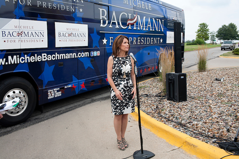 Republican presidential hopeful Michele Bachmann answers questions from the media after a campaign appearance on Friday, August 5, 2011 in Newton, IA.