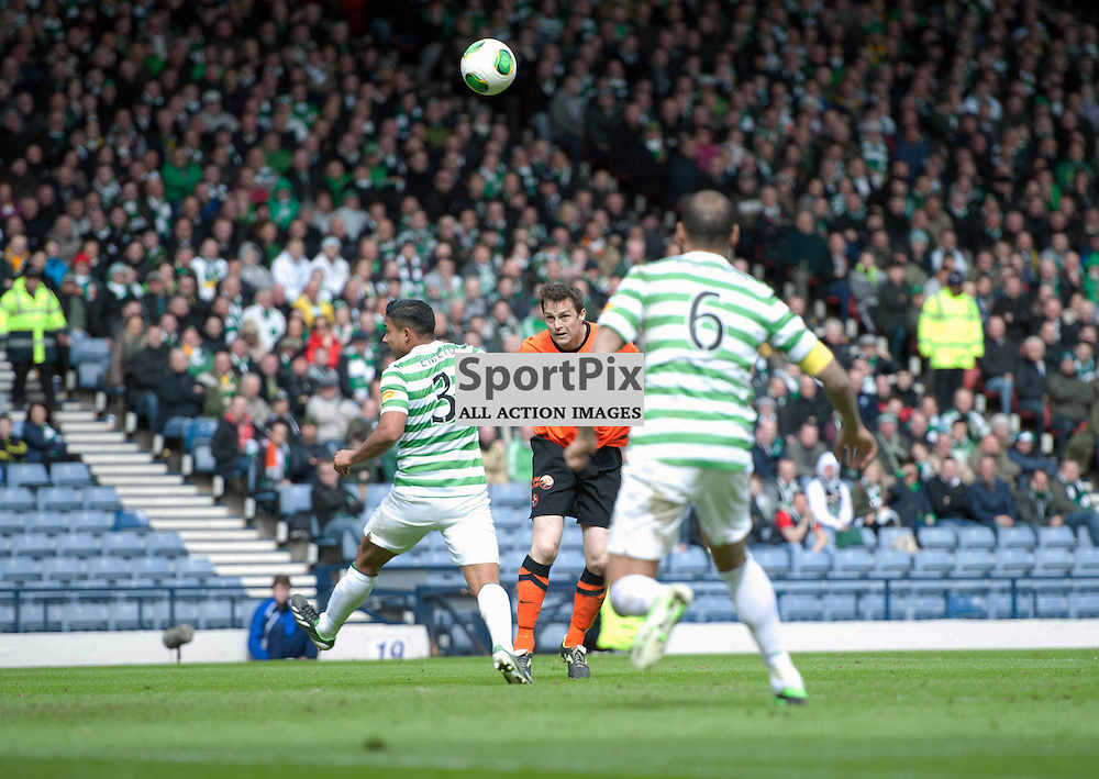 John Daly heads the equaliser for Dundee United. Dundee Utd v Celtic, William Hill Scottish Cup Semi Final, Hampden Park, Sunday 14 April 2013 (c) ANGIE ISAC | StockPix.eu