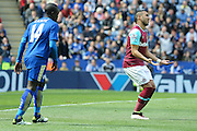 Disappointed West Ham United midfielder Dimitri Payet (27)  during the Barclays Premier League match between Leicester City and West Ham United at the King Power Stadium, Leicester, England on 17 April 2016. Photo by Simon Davies.