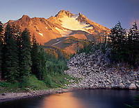 Evening light on Mount Jefferson from Bays Lake, Mount Jefferson Wilderness, Oregon
