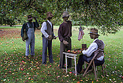 Straw-man reenactment of army recruitment efforts to enlist black men following Lincoln's Emancipation Proclamation. 54th Massachusetts regiment.