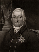 Louis XVIII (Stanislaw Xavier  1755-1824) younger brother of Louis XVI, proclaimed himself king of France 1795. In exile from 1791 until fall of Napoleon, April 1814. Stipple engraving from 'History of the Wars Occasioned by the French Revolution...' by CH Gifford (London, 1817).
