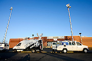 February 01, 2012: Television vans line the curb in front of Hillcrest High School in Springfield, Missouri prior to Dorial Green-Beckham announcing where he plans to play college football on National Signing Day. Photo by: David Welker/ Turfimages.com