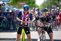 Katie Compton (USA) of USA Cycling National Team and Annette Edmondson (AUS) of Wiggle High5 Cycling Team enjoy the start ceremony before Stage 1 of the Amgen Tour of California - a 124 km road race, starting and finishing in Elk Grove on May 17, 2018, in California, United States. (Photo by Balint Hamvas/Velofocus.com)