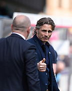 Wycombe player manager Gareth Ainsworth gives the thumbs up to Accrington manager John Coleman before the Sky Bet League 2 match between Wycombe Wanderers and Accrington Stanley at Adams Park, High Wycombe, England on 30 April 2016. Photo by David Charbit.