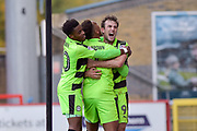 Forest Green Rovers Christian Doidge(9) celebrates after scoring the winning goal 1-2 during the EFL Sky Bet League 2 match between Stevenage and Forest Green Rovers at the Lamex Stadium, Stevenage, England on 21 October 2017. Photo by Adam Rivers.
