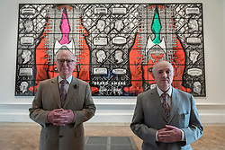 """© Licensed to London News Pictures. 07/06/2016. London, UK. Artists Gilbert & George present their new picture, """"Beard Aware"""", seen on display for the first time and which will be part of this year's Royal Academy's Summer Exhibition.  The work references beards and barbed wire, and explores the ways in which both serve as devices to protect, disguise, intrigue and repel in the past, present and future. Photo credit : Stephen Chung/LNP"""