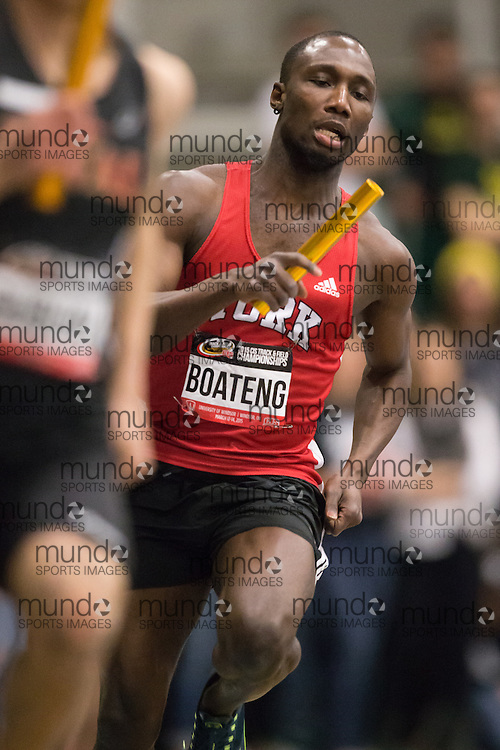 Windsor, Ontario ---2015-03-14--- Bismark Boateng of York University  competes in the 4x400m relay at the 2015 CIS Track and Field Championships in Windsor, Ontario, March 14, 2015.<br /> GEOFF ROBINS/ Mundo Sport Images
