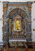 Ornately decorated statue Blessed Virgin Mary and baby Jesus church of Igreja de Santiago, Tavira, Algarve, Portugal, Southern Europe