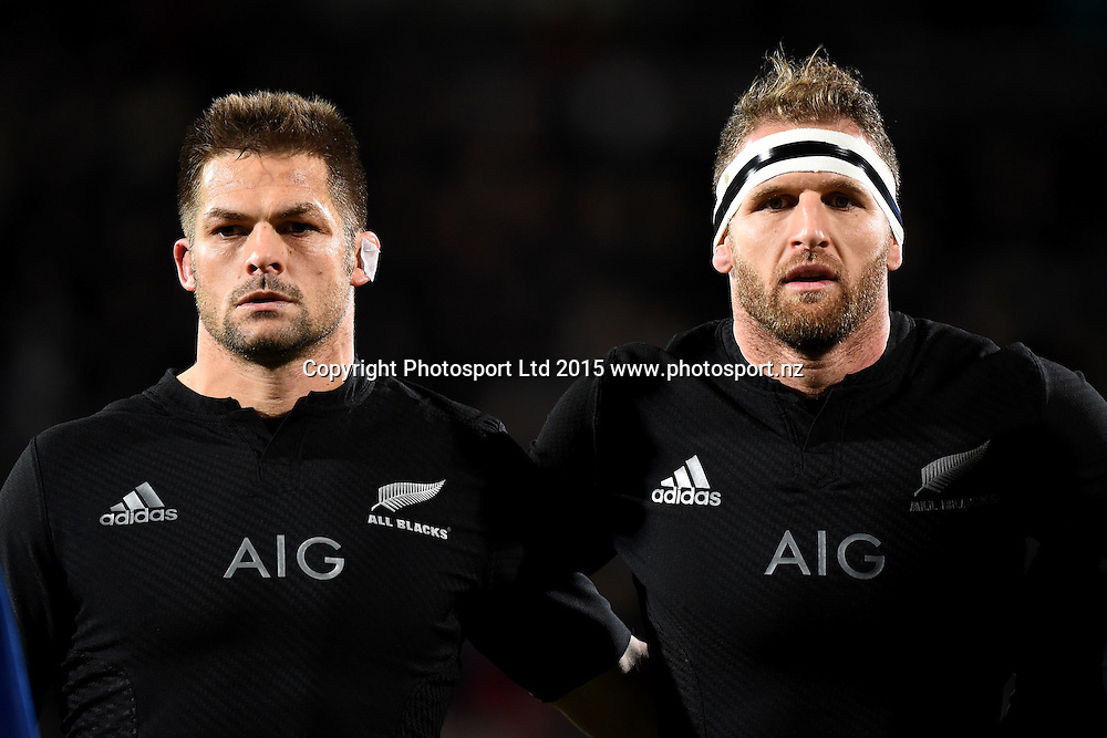 All Blacks player Richie McCaw and Kieran Read during the National Anthem  during the Investec rugby Championship match between New Zealand v Argentina. AMI Stadium, Christchurch, New Zealand. Friday 17 July 2015. Copyright Photo: Chris Symes / www.photosport.nz