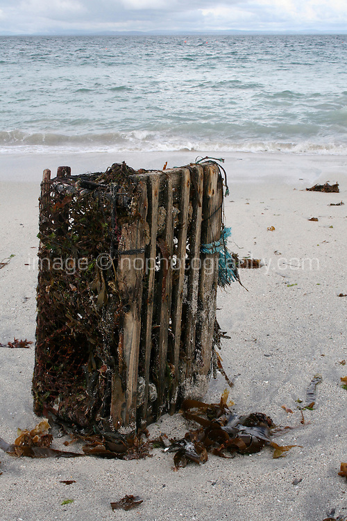Lobster pot washed up on the beach at Inis Oirr the Aran Islands in Galway Ireland