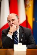 2013/06/14 Roma, vertice Italia - Spagna - Germania - Francia sul lavoro per i giovani. Nella foto Pierre Moscovici.<br /> Rome, summit Italy - Spain - Germany - France on employment for youth. In the picture Pierre Moscovici - &copy; PIERPAOLO SCAVUZZO