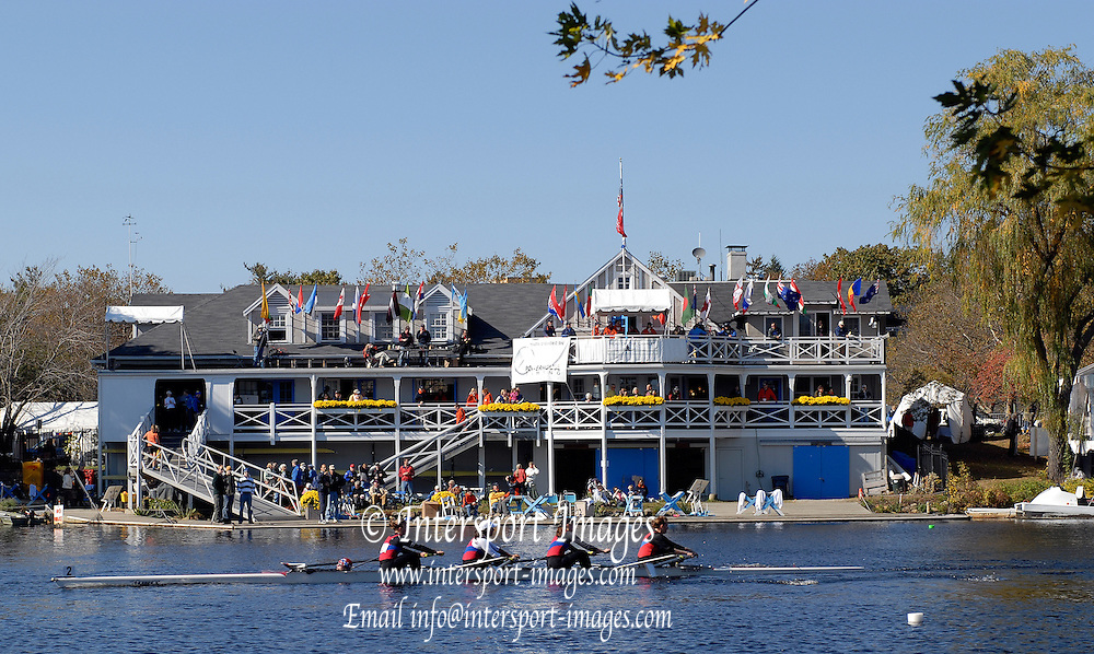 Boston, Massachusetts,  GV's. Cambridge Boathouse,  Boston side, from the bank below. Eliot Bridge  as crews compete in the the Forty second Head of the Charles, 21/10/2006.  Photo  Peter Spurrier/Intersport Images...[Mandatory Credit, Peter Spurier/ Intersport Images] Rowing Course; Charles River. Boston. USA